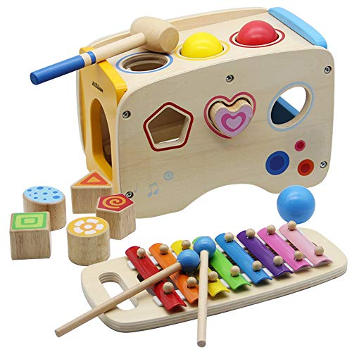 (ATDAWN Wooden Shape Sorter Bus with Slide Out Xylophone, Wooden Musical Pounding Toy, Baby Color Recognition and Geometry Learning, Multifunctional and Bright Colors (Style 1))