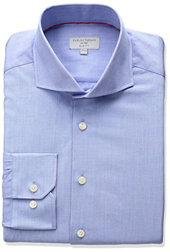 Mens Cutaway Collar Shirt - English Threads Men's Slim Fit End Dress Shirt, Light Blue, 16