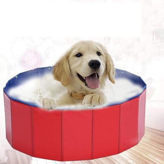 QNMM Plegable Mascotas Perros Piscina Cachorro Tina de baño Rojo ...