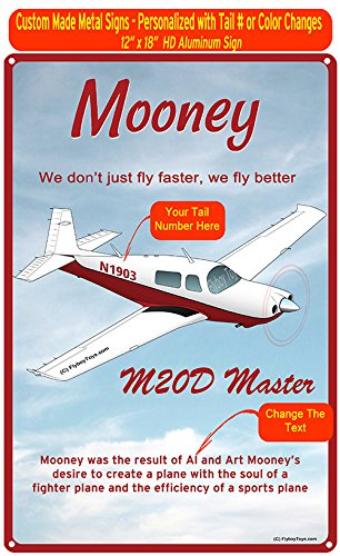 Mooney M20 Master Custom HD Metal Airplane Sign - Add Your N# - Mooney Airplane