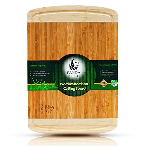(Panda Chef Professional Bamboo Cutting Board-Best Wood Carving Board w/Juice Groove. Extra Large Butcher Block (Meat), Heavy Duty Chopping Block (Vegetables) Cheese/Bread Serving Tray. 18X12 Inches.)