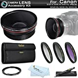 67mm HD Wide Angle Lens Kit For Canon SX50 HS, SX40 HS SX30 IS SX30IS Includes 67mm Wide Angle Lens with Macro + Necessary Filter Adapter (Replaces Canon FA-DC67A) + 3pc Filter Kit (UV-CPL-FLD) + More