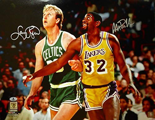 Magic Johnson & Larry Bird Autographed 16x20 Photo Beckett BAS - Autographed Larry Johnson Photo