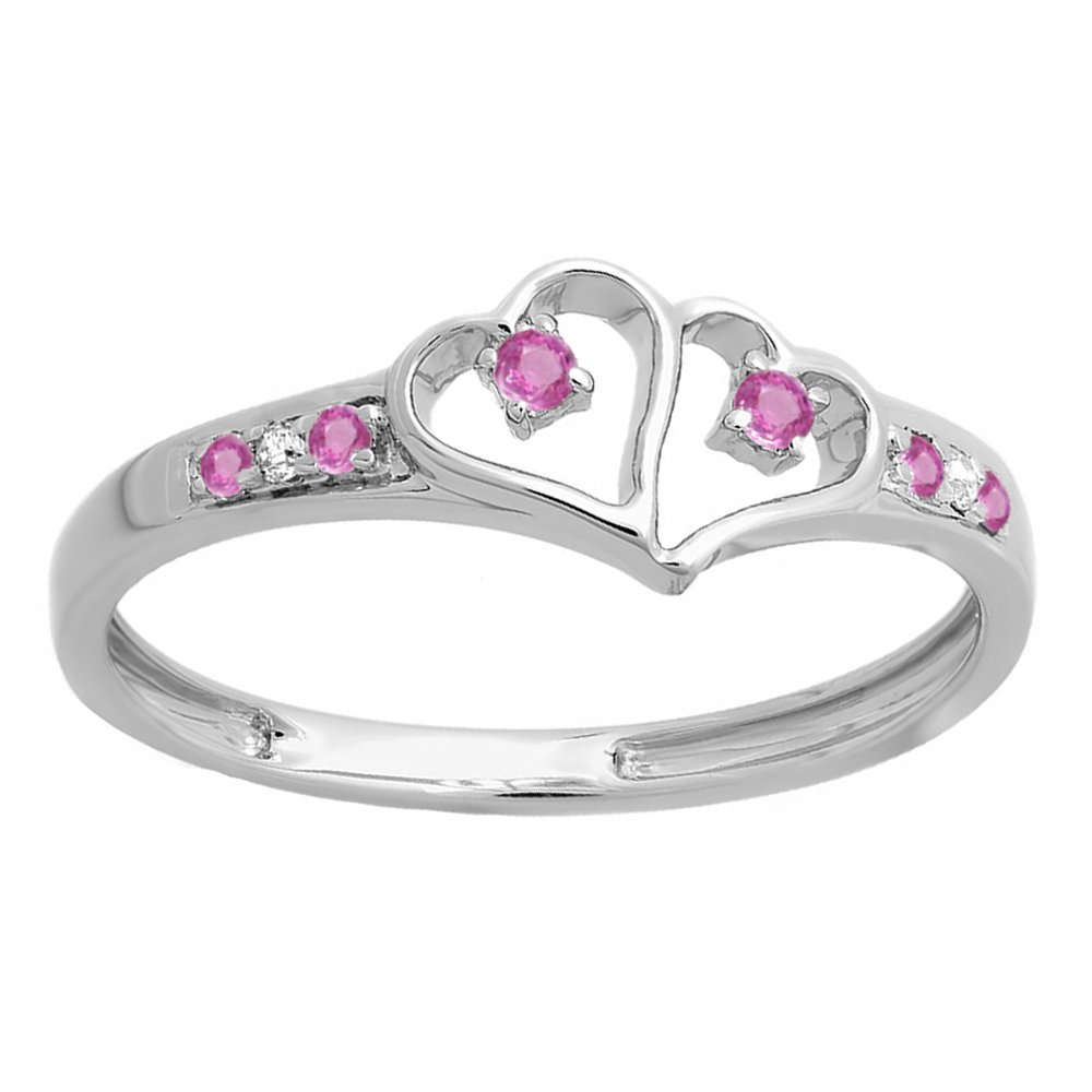 Sterling Silver Round White Diamond & Pink Sapphire Ladies Promise Double Heart Love Ring (Size 10)