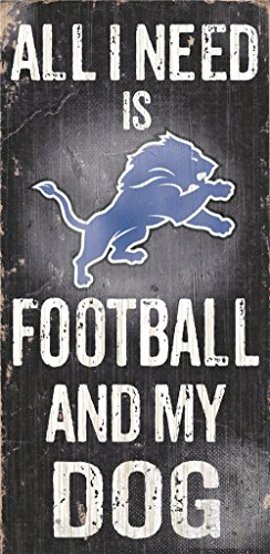 Detroit Lions Wood Sign - Football And Dog (Lions Wood Sign)