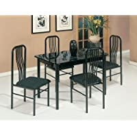 Acme 02406/7BK 5-Piece Hudson Faux Marble Top Dining Set, Black