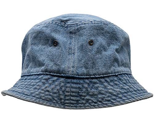 (SH-220-73-SM Vintage Fitted Safari Bucket Hat: Washed Denim (S/M))