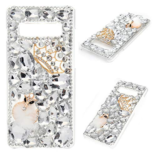 Crown Rhinestones Cover - Mavis's Diary Compatible Samsung Galaxy S10 Plus Case, 3D Handmade Luxury Bling Crytal Fashion Design Shiny Gem Pearl Rhinestone Diamond Clear Hard Protective Plastic PC Cover - Gemstone Crown Fox