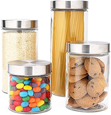 Eatneat 4 Piece Beautiful Glass Kitchen Canister Set With Stainless Steel Lids Round Dry Food Storage Containers Buy Online At Best Price In Ksa Souq Is Now Amazon Sa