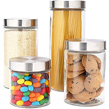 Amazon.com: Brabantia Stackable Glass Food Storage Containers, Set of 3: Kitchen & Dining