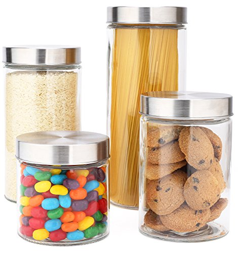 (EatNeat Glass Canister Set with Stainless Steel Lids- 72/55/38/27 oz. (4-Piece Assorted))