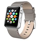 Apple Watch Band 38mm Leather, Swees iWatch Genuine Leather Bands Strap Replacement Wristband with Stainless Steel Clasp Buckle for Apple Watch Series 2 (2016) / Series 1 Women Men, Grey