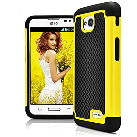 LG L70 Case, LG Optimus Exceed 2 Case, MagicMobile [Dual Armor Series] Hybrid Impact Resistant LG L70 Shockproof Tough Case Hard Plastic Silicone Protective Cover for LG Optimus Realm (Lg L70 Optimus Black Cases)