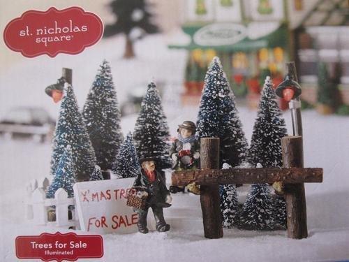 St Nicholas Christmas Village.St Nicholas Square Trees For Sale Illuminated Christmas Village Accessory