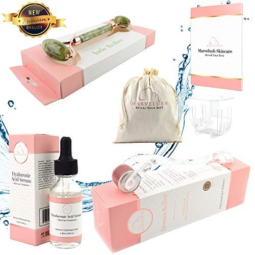 Derma Roller, Jade Roller & Hyaluronic Acid Serum | Anti-aging Facial Skin Care | Reduce Dark Under- Eye Circles | 540 Titanium Microneedles 0.3mm |  Marvelush Skincare Bundle