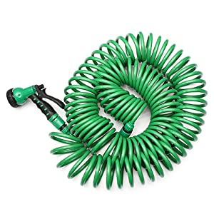 EVA 25M Garden Coiled Water Hose Pipe With Nozzle Washing Car