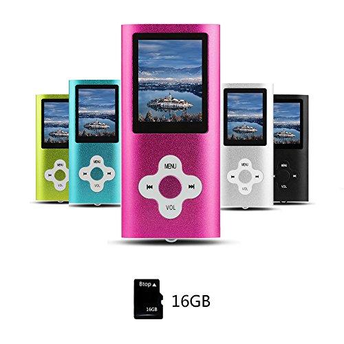 Btopllc Lecteur de musique MP3/MP4 16Go Lecteur de son portable sans perte Compact Lecteur de musique numérique LCD mini port USB Lecteur de musique audio Support Musique,Ebook,Image - rose
