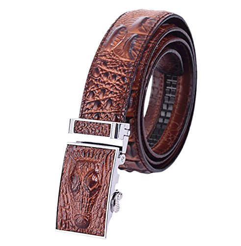 Easting Men's Crocodile Embossed Genuine Leather Ratchet Belt (120cm/47inch, Brown) (Brown Crocodile Belt)