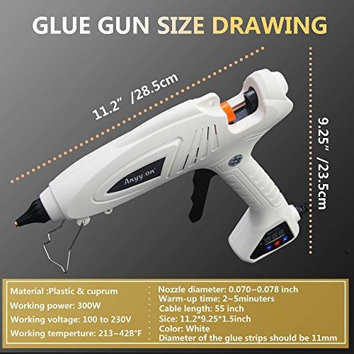 Hot Glue Gun, Anyyion 300W Industrial Glue Gun High Temperature Digital Display Hot Melt Glue Gun,White by Anyyion (Image #5)