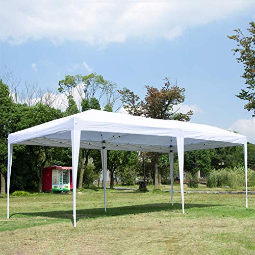 CHARAVECTOR 10 x 20 ft Heavy Duty Pop-up Tent Gazebo for Outdoor Party Wedding Commercial Activity Pavilion BBQ Beach Car Shelter (White)