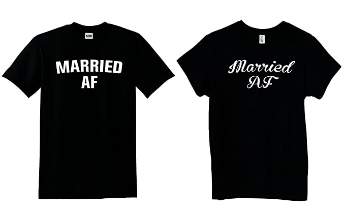 fc5b63cd ... Duck Hunting T Shirt Source · Couple T Shirts Married AF Funny Husband  And Wife Matching Set Of