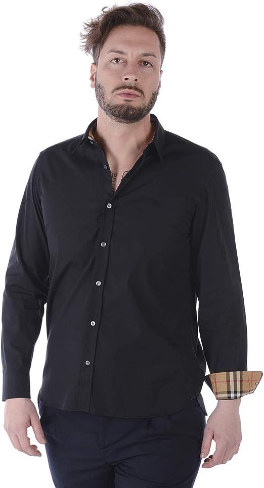 BURBERRY - Camisa Hombre 8008706 Negro William S: Amazon.es: Ropa y accesorios