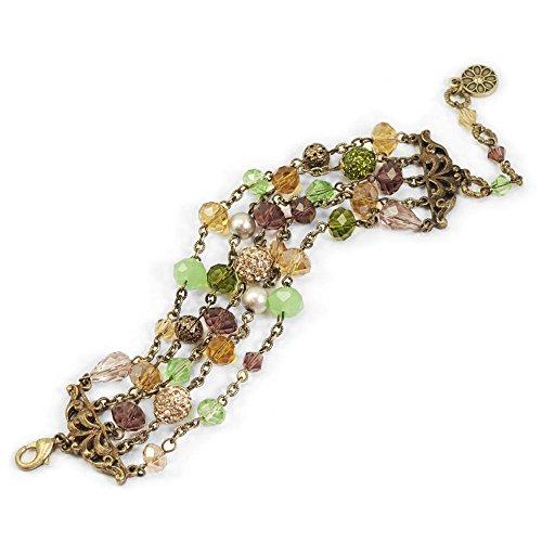 Sweet Romance Gemstone Garden Multi Strand Bracelet (Green Topaz)