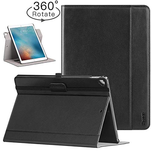 Ztotop Case for iPad Pro 12.9 Inch 2017/2015, [360 Degree Rotating/Genuine Leather] with Auto Wake/Sleep,Pencil Holder,Document Card Slots, Multiple Viewing Angles, Black