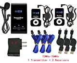 EXMAX ATG-100T 72-76MHz Wireless Tour Guide Monitoring Acoustic Audio Voice Transmission System Microphone Earphone Headset For Church Simultaneous Interpreting Teaching(1 Transmitter 2 Receivers)