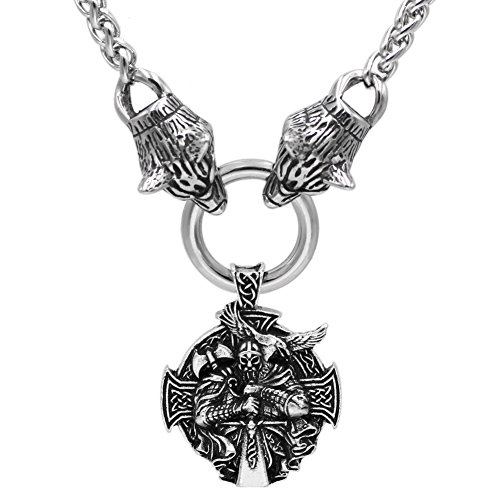 - GuoShuang Men Viking Stainless Steel Odin's Wolf Head with Odin Mjolnir Pendant Necklace - 60CM Chain