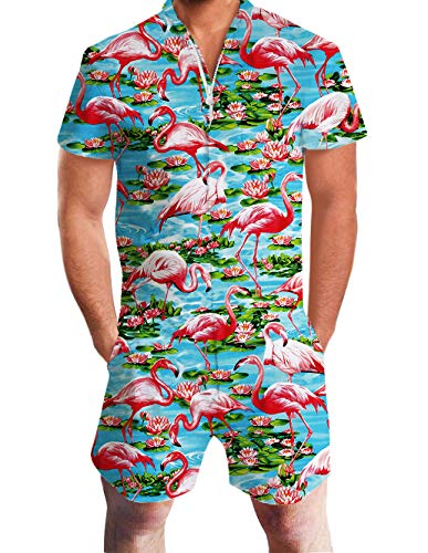 Men's Romper Suits 3D Print Green Red Floral Cute Fun Flamingo Graphics Hawaiian Lotus Blue Short Sleeve Pants Zip Up Collarless Blended Coverall Casual Beach Club Work Wear Boys Summer Cool Apparel