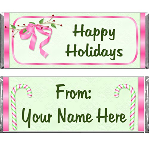 Personalized Custom Pink Christmas Holiday Assembled Hershey's Chocolate