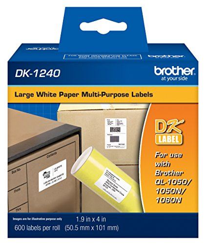 Brother 1.9 x 4 Inch Die Cut White Paper Labels 600 Count (DK1240) - Retail Packaging