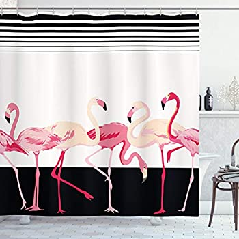 Ambesonne Retro Decor Shower Curtain by, Pink Flamingo Birds Background with Stripes Love Romance Icons Shabby Chic Graphic, Fabric Bathroom Decor Set with Hooks, 84 Inches Extra Long, Black