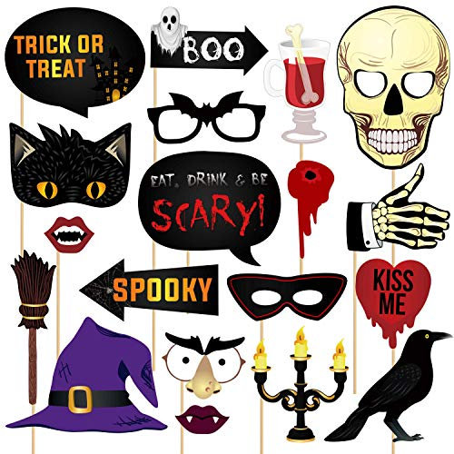 Halloween Photo Booth Props - 37 Pieces Vintage Scary Party Supplies, Vampire Skull Witch Photography Decoration Kit for Kids Adults, DIY Crafts Birthday Gifts Photo shoot Backdrop Accessories
