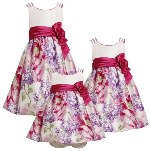 Bonnie Jean Baby 3M-9M Pink Purple Triple Strap Floral Border Shantung Dress