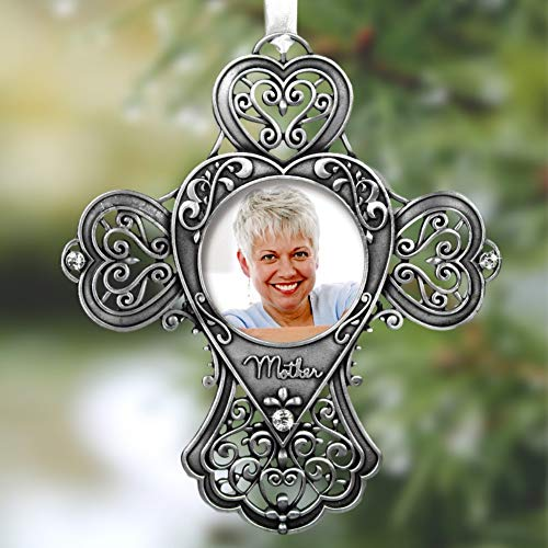 - BANBERRY DESIGNS Mom Cross Photo Ornament - Metal Filigree and Crystals - Mom Sympathy Gift - Mother of The Bride Gift