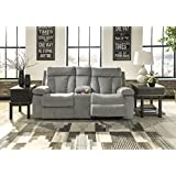 Mitchiner Contemporary Fog Color Fabric Double Reclining Loveseat with Console