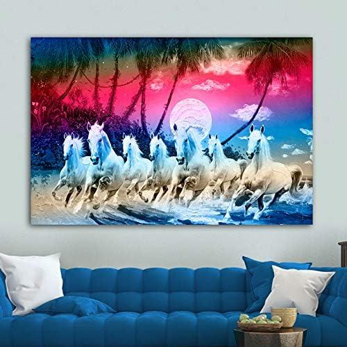 hllhpc (No Frame) Siete Caballos Cuadros Animales Coloridos Nubes Carteles Lienzo Pintura decoración Moderna Pared Arte Imagen para Sala de Estar sin Marco