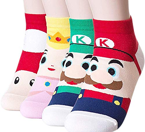 Happytree Cute Design Casual Cotton Crew Socks, Cat Socks, Dog Socks, Animal Socks, Good for Gift (Super Mario 4 Pairs)]()