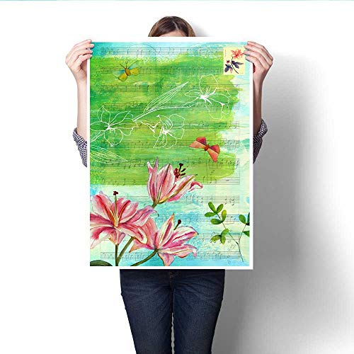 Anshesix Wall Art Canvas Prints Vintage Style Collage with Sheet Music Lily and Butterflies Print Paintings for Home Wall Office Decor 16