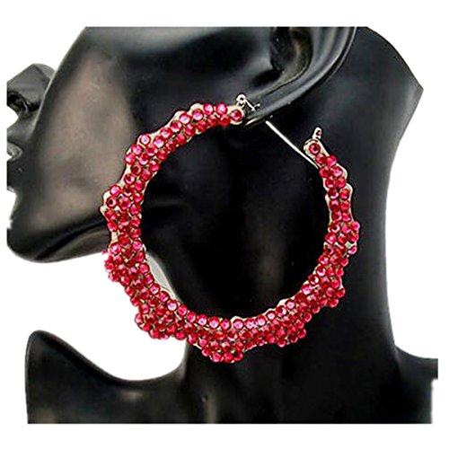 WIIPU Hoop Circle Rhinestone Stud Bamboo Basketball Wives Earring(A1128)-Red -