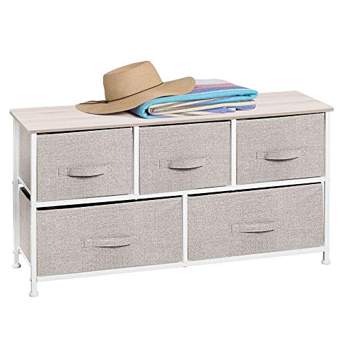 mDesign Extra Wide Dresser Storage Tower - Sturdy Steel Frame, Wood Top, Easy Pull Fabric Bins - Organizer Unit for Bedroom, Hallway, Entryway, Closets - Textured Print - 5 Drawers - Linen/White