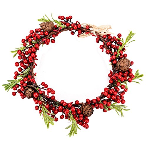 Love Sweety Red Berry Pine Cone Crown Forest Woodland Headband (1#) (Winter Red Berry Wreath)