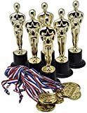 """6"""" Gold Award Trophy with Gold Winner Medals for Award Ceremony's or Party (24 Pack)"""