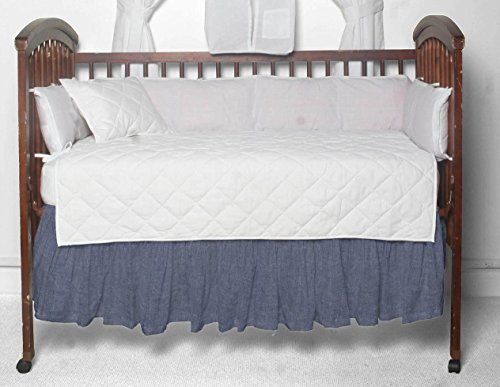 Denim Crib Bedding (Patch Magic Blue Light Denim Fabric Dust Ruffle Crib)