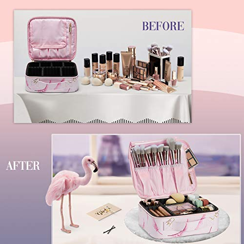 Stagiant Flamingo Makeup Bag Portable Travel Makeup Train Case PU Leather Cosmetic Storage Organizer for Girl Cosmetic Make Up Tools Toiletry Jewelry Digital Accessories - Pink Flamingo
