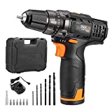 Cordless Drill Driver, TACKLIFE PCD01B Cordless Drills 2000mAh Li-on 27N.m with 2 Speed 10MM Metal Chuck, 19+1 Torque Setting, 1H Fast Charge 13PCS Free Bits 100-240V Charge Voltage