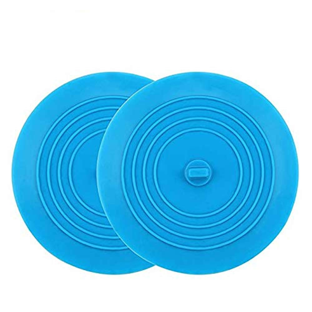 Kirecoo 2 Pack Bathtub Stopper, 6 Inches Large Silicone Tub Stopper, Flat Suction Drain Covers, Bath Plug for Tub, Kitchens, Bathrooms and Laundry(Blue)