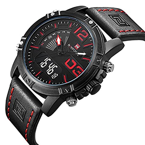 Tamlee Fashion Sport Men's Digital Analog Watches with Leather Strap EL Backlight (Black) (Mens Leather Watches Small)